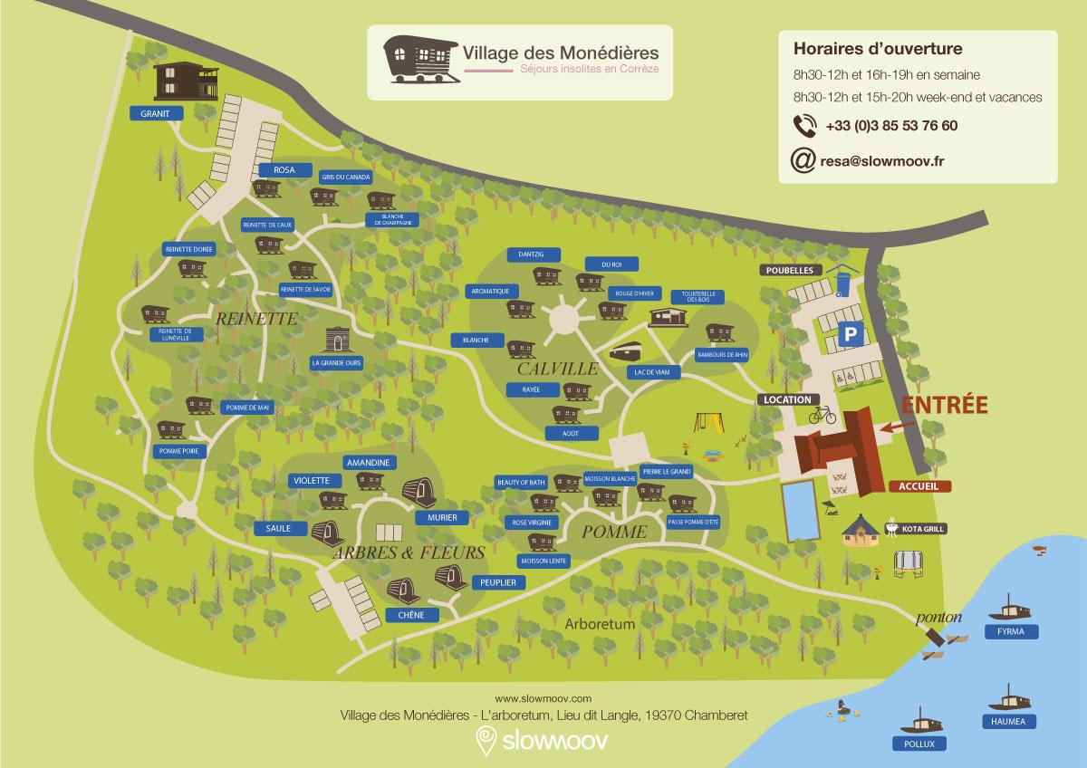 Plan du village des Monédière en Corrèze Slowmoov hébergements insolites