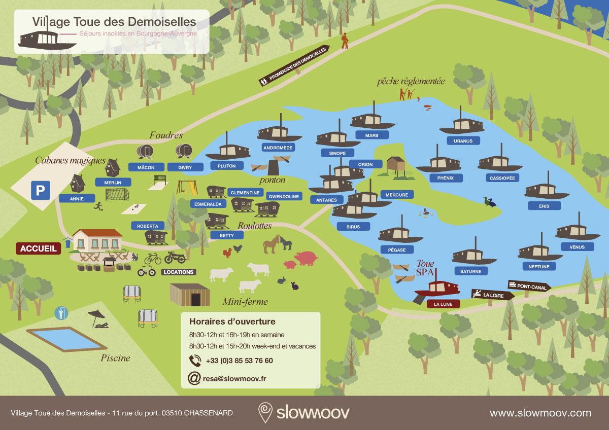 Plan du village Toue des demoiselles Slowmoov hébergements insolites